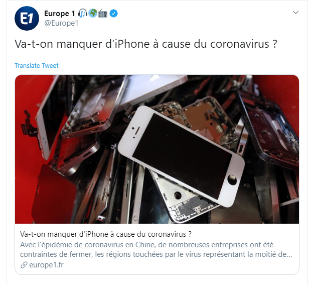 Moins d'Iphones à cause du Coronavirus ?