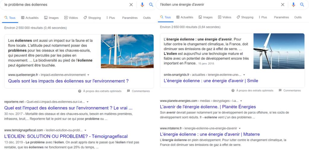 Effet bulle et biais de confirmation  via les recherches sur Google