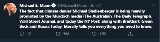 Tweet de Michael Mann, ancien auteur du GIEC