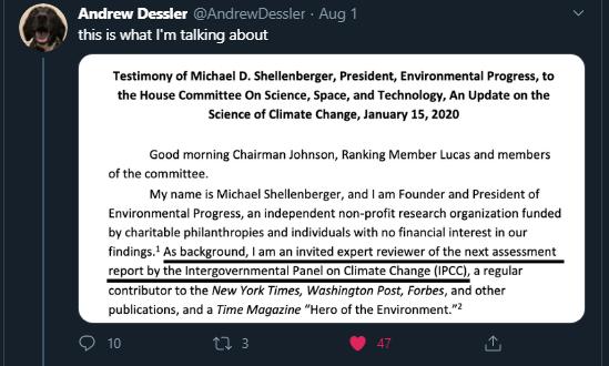 Andrew Dessler qui reprend Shellenberger et son rôle au GIEC