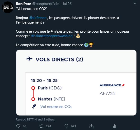 Name and Shame de Bon Pote avec Air France qui ment sur ses vols neutre en CO2