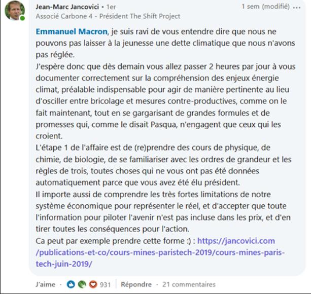 JMJ qui prend Macron pour un con. Enfin c'est ce que semble penser les personnes en commentaires