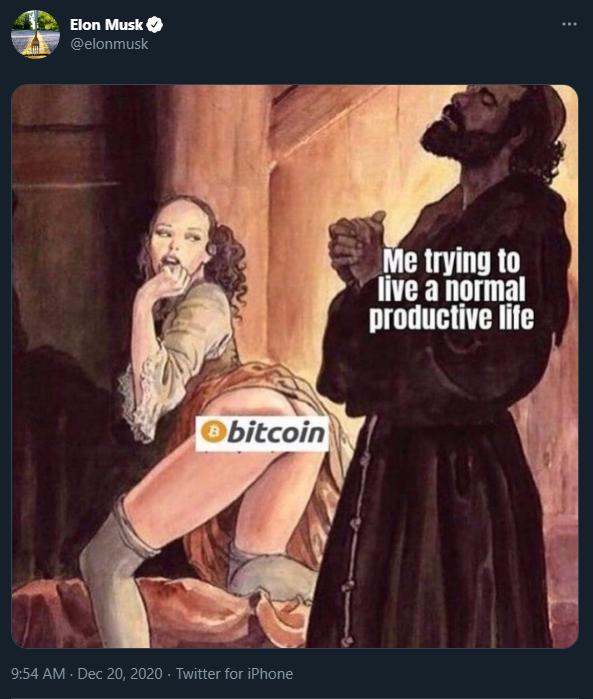 Elon Musk qui tweet pour faire baisser le cours du Bitcoin...