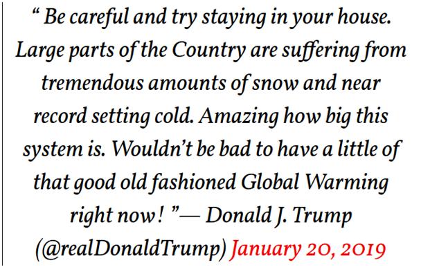 Donald Trump dans un tweet qui confond météo et climat
